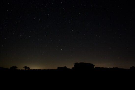 Combestone Tor at night